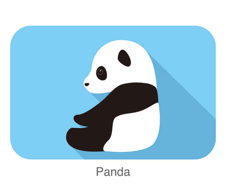 siting: cute panda baby siting side, flat design, vector