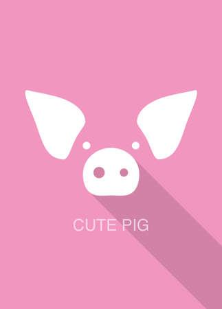 pig cartoon face, flat icon design  vector illustration