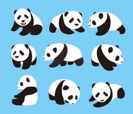 side viewing: cute panda baby set, flat design  vector illustrator