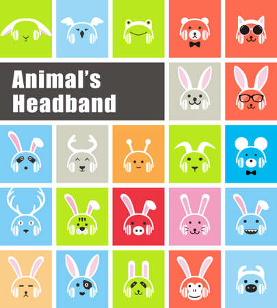 hair mask: animals wear animals headband flat icon, vector illustration