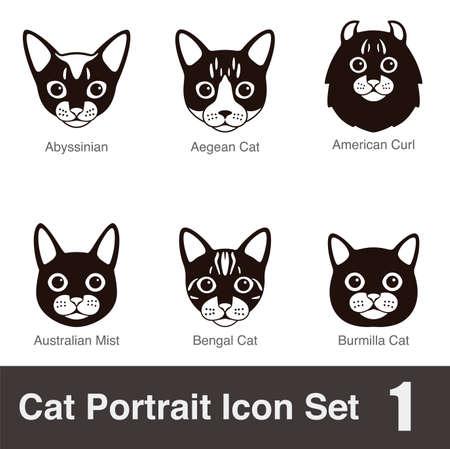 Cat breed face cartoon flat icon series Illustration