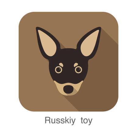 russkiy: russkiy roy dog face portrait flat icon design, vector illustration