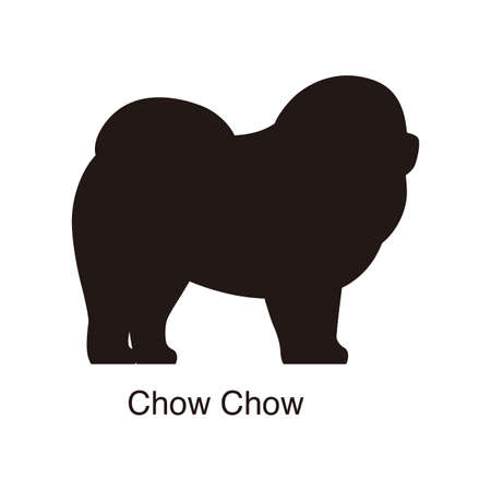chow: Chow Chow dog silhouette, side view, vector illustration