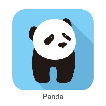 side viewing: cute panda baby standing, flat design, vector