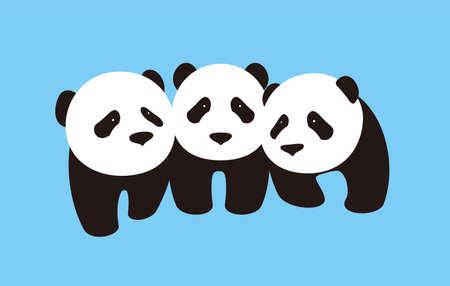 three cute panda babies standing together, flat design, vector Illustration