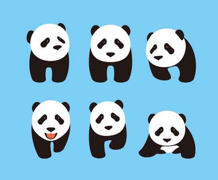 side viewing: cute panda baby set, flat design, vector Illustration