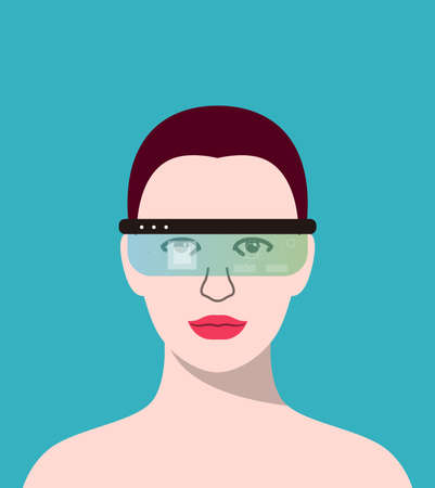 beauty girl wearing Virtual reality glasses. front view, playing games, vector illustration
