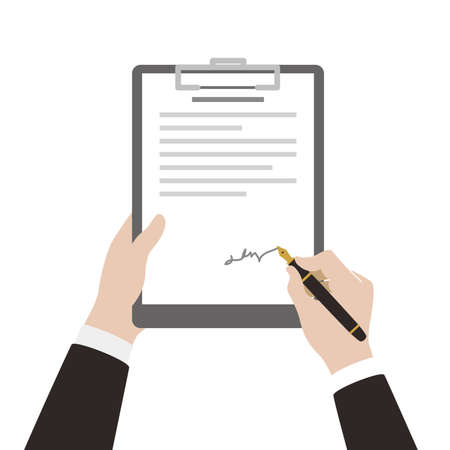 signing papers: man sign contract using pen  vector illustration