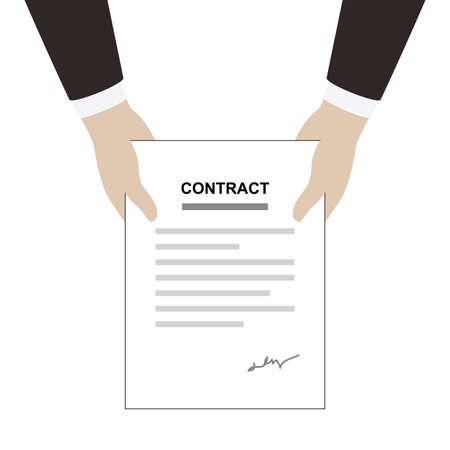 signing papers: man delivery contract paper flat design, vector illustration