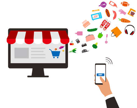 market place: concept of purchasing product at internet, mobile shopping. Buy Online,  illustration