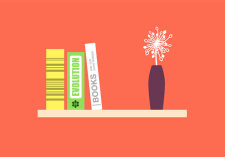books on the bookshelf, flower and vase, vector illustration Illustration