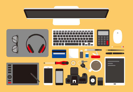 desk with computer and other things, vector illustration