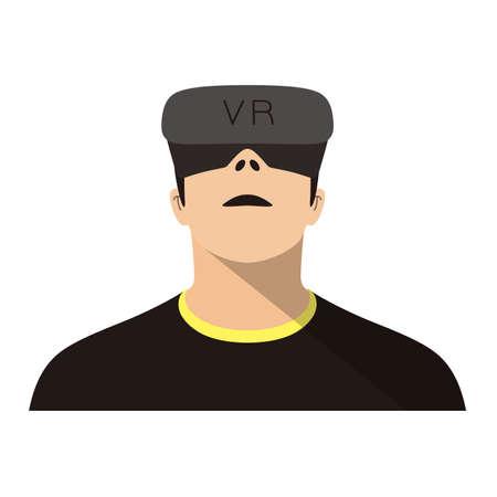 man wearing Virtual reality glasses. playing games, vector illustration
