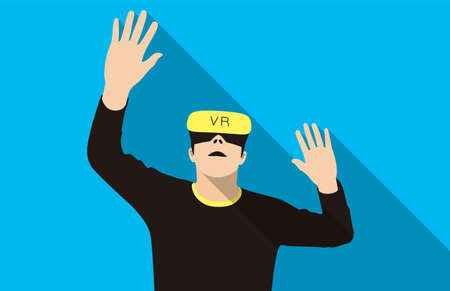 man wearing Virtual Reality glasses. hands up, playing games, vector illustration
