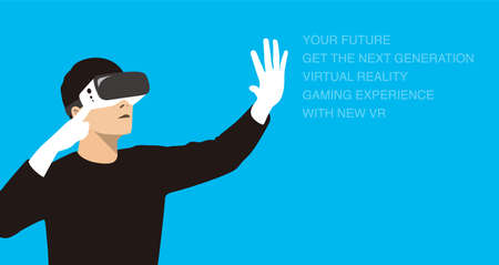 man wearing Virtual reality glasses. hands holding, playing games, vector illustration Illustration