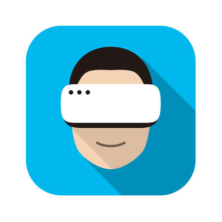 man looking out: man wearing Virtual reality glasses. front view, playing games, vector illustration