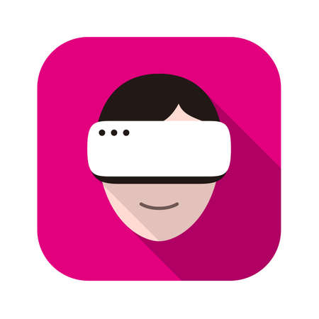 man looking out: man and women wearing Virtual reality glasses. side view, playing games, vector illustration