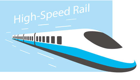 High speed bullet train coming out, modern flat design, vector illustration Illustration