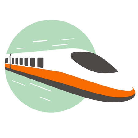High speed bullet train come out from the circle, modern flat design, vector illustration