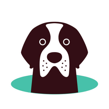 Saint Bernard dog on the hole Illustration