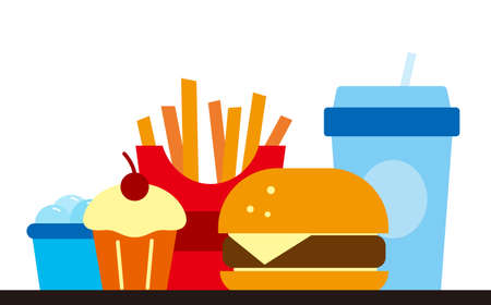Fast food and drink for lunch or dinner vector illustration