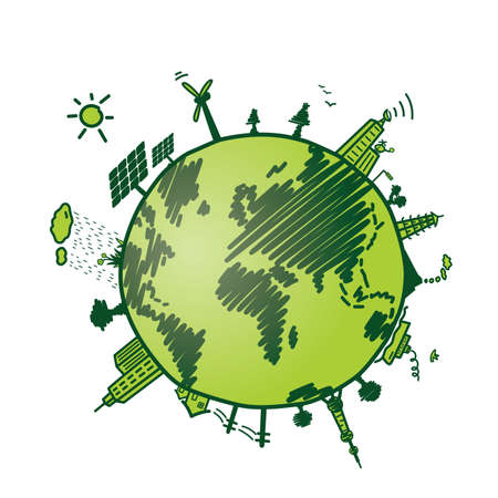 solarpower: cute green earth, recycle and energy environmen protection Illustration