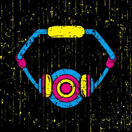 Explosion music headset graffiti, black background vector illustration
