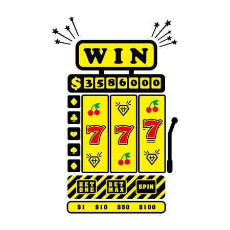 Slot machine, three seven numbers  illustration