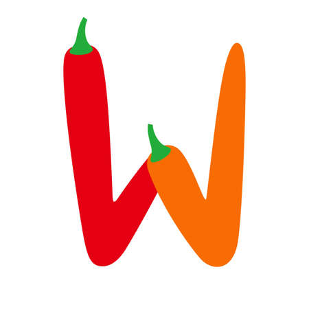 cayenne: English alphabet letter W form of red chili pepper, uppercase letter. vector Illustration