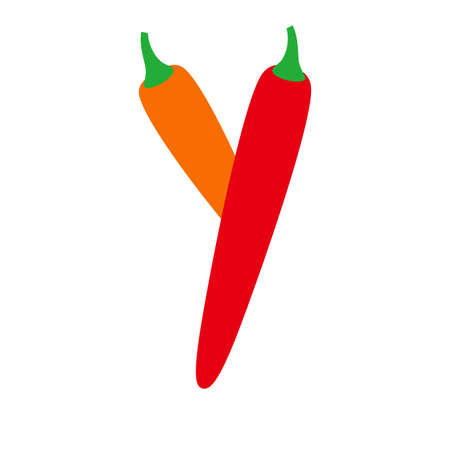 cayenne: English alphabet letter Y form of red chili pepper, uppercase letter. vector