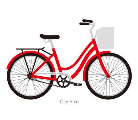 Simplified flat city bike design   illustration Illustration
