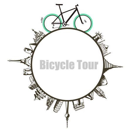 Modern City and country, Touring Bike, vector illustration