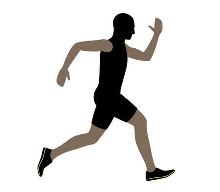 Sprinter are running, flat design  vector illustration