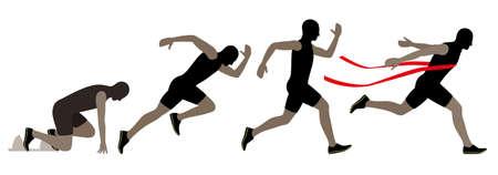 vector illustration of running; motion exposure shot,