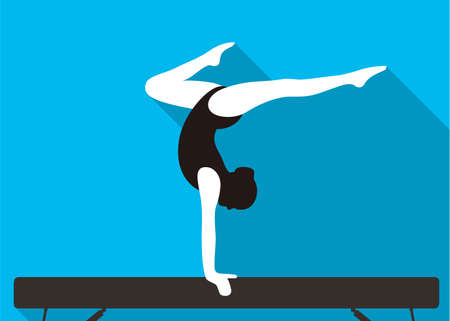 girl on balance beam, doing a handstand, vector illustration
