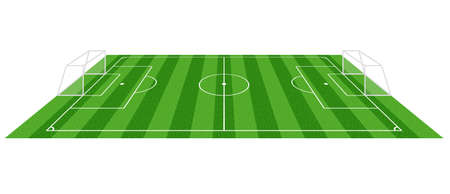 simple grass football soccer field, vector illustration