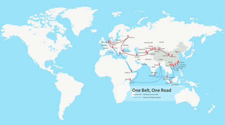 One Belt, One Road, Chinese strategic investment in the 21st century map Illustration