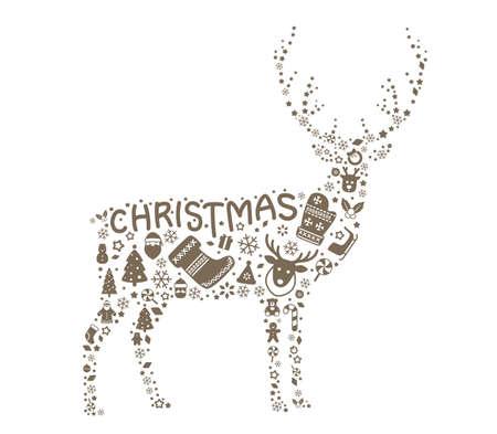 gingerbread man: reindeer,  Christmas icon set, vector