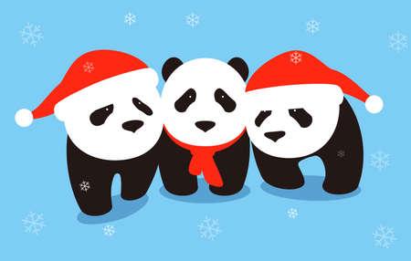 many babies: cute panda baby wearing Christmas hat, flat design, vector