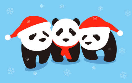 cute panda baby wearing Christmas hat, flat design, vector