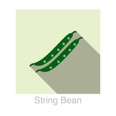 long bean: String bean Vegetables food flat icon  vector illustration