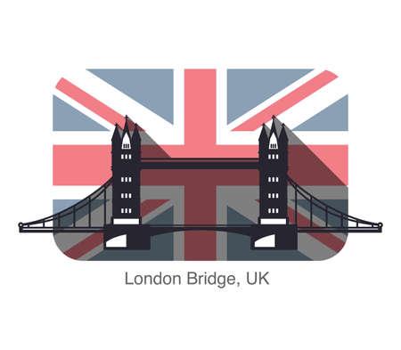 drawbridge: Big Ben, London, landmark flat icon design, background is British flag