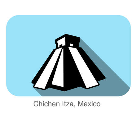Chichen Itza,Mexico, famous landmark flat icon