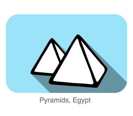 Pyramids, Egypt, famous landmark flat icon design