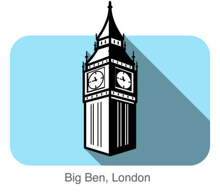 pictorial art: Big Ben, London, famous landmark flat icon design Illustration