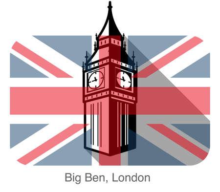 parliament: Big Ben, London, landmark flat icon design, background is British flag