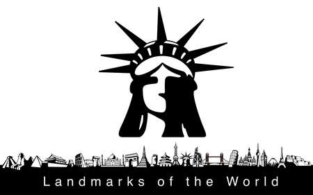 Famous place. famous Landmark icons of the world Illustration