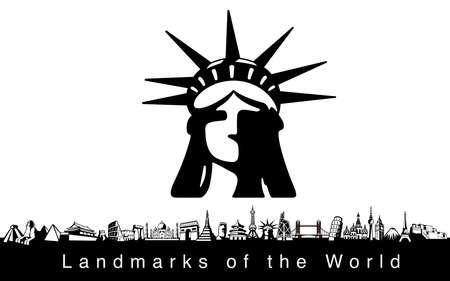 Lugar famoso. famosos iconos de referencia del mundo Vectores