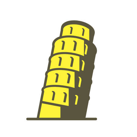 leaning tower of pisa: pisa. famous Landmark icon of the world series