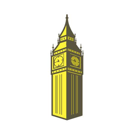 pictorial art: Big Ben, London, famous landmark flat icon design